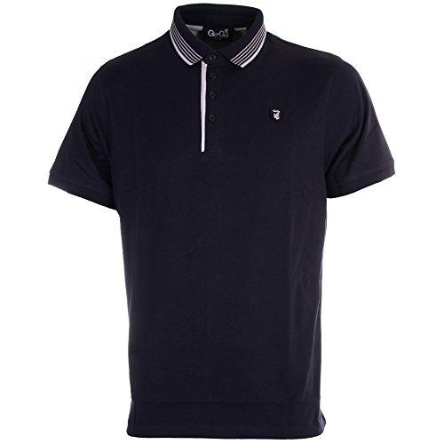 Gio Goi Herren Gekippt Kurzärmeliges Polohemd Marineblau