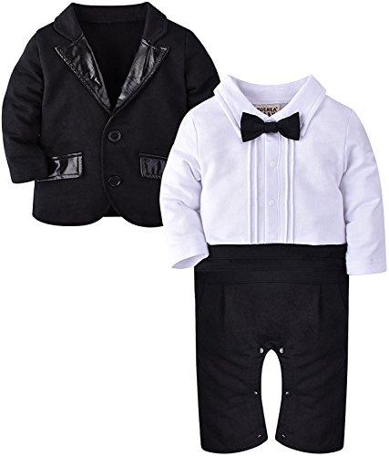 ZOEREA 2tlg Baby Junge Strampler Baumwolle lange Ärmel gesamte Gentleman Suit für Taufe Geburtstagsfeier Hochzeitsfeier