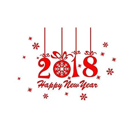 OVERMAL 2018 - Bonne AnnéE Joyeux NoëL Mur Autocollant Accueil Vitrines Autocollants Decor (Rouge)