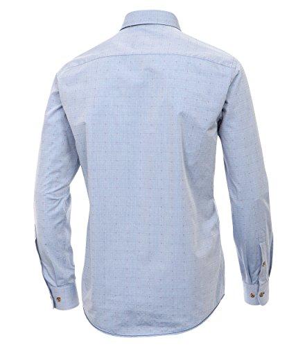 Casa Moda - Casual Fit - Herren Struktur Hemd uninah mit Kent Kragen (462409700A) Blau (100)