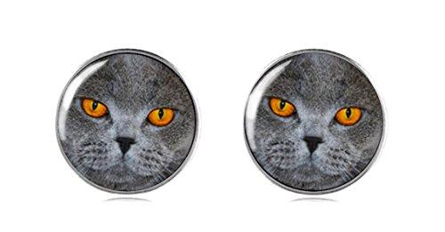 Tizi Jewellery 925 Sterling Silber Katze Ohrringe Ohrstecker 12 mm Handgemacht für Damen und Mädchen Rerfektes Geschenk oder für (Schwanz Oder Lange Maus Katze)