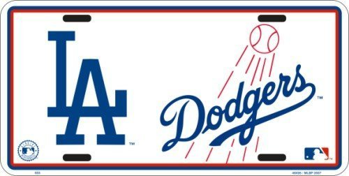 Los Angeles Dodgers White Metal License Plate by Tag City -
