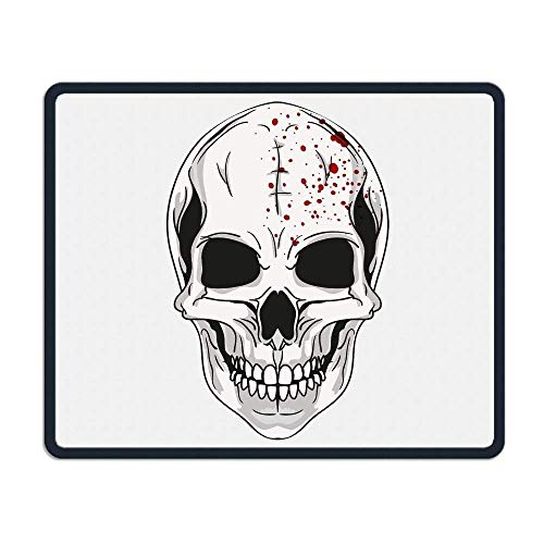 keiwiornb Mouse Pad Halloween Skull Logo Rectangle Rubber Mousepad Length 8.66 Width 7.09 Inch Gaming Mouse Pad with Black Lock ()