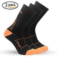 IMITOR Calcetines de Senderismo para Hombre y Mujere Algodón Transpirable Calcetines de Trekking Calcetines Térmicos para Actividades al Aire Libre Ciclismo Correr Escalar 3 Pares (Negro Naranja)