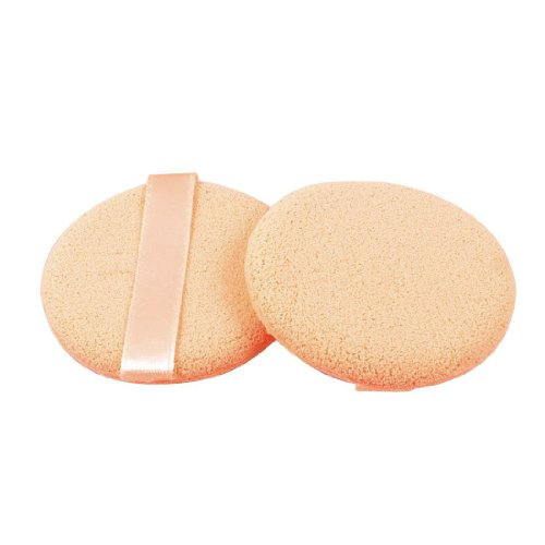 Ribbon Strap Round Sponge Cosmetic Powder Puff Pad Finishing Polish Pat Beige 2 Pcs