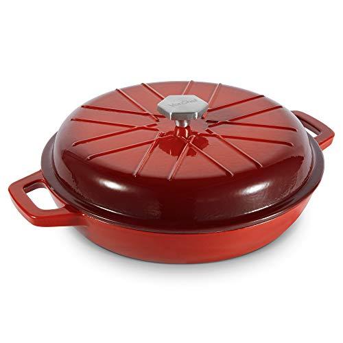 VonShef Cacerola Baja horno hierro fundido 3L rojo