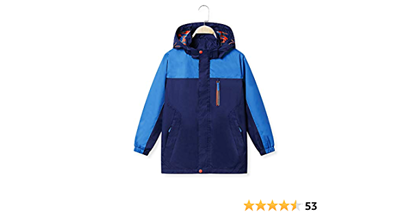 BASADINA Boy Waterproof Raincoat Wind Resistant 5-14 Years for Travelling UPF 50 Protection Kids Jacket Breathable Hoodie Jacket Coat Outdoor Rain Jacket
