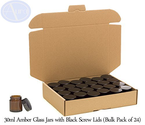 PACK of 24 - 30ml AMBER GLASS Jars with BLACK Lids for Aromatherapy Blends / Creams