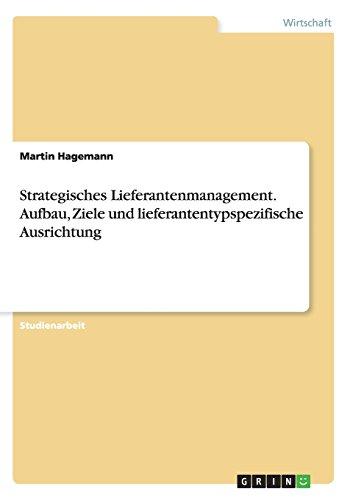 Strategisches Lieferantenmanagement. Aufbau, Ziele und lieferantentypspezifische Ausrichtung (Ausrichtung Ziel)