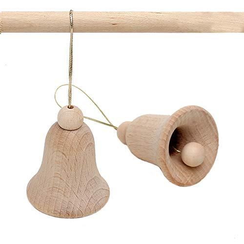 Dekohelden24 3 Wunderschöne handgedrechselte Buchenholz Glocken im Set zum hängen, ca. 5 cm