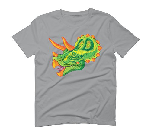 Triceratops (lime) Men's Graphic T-Shirt - Design By Humans Opal