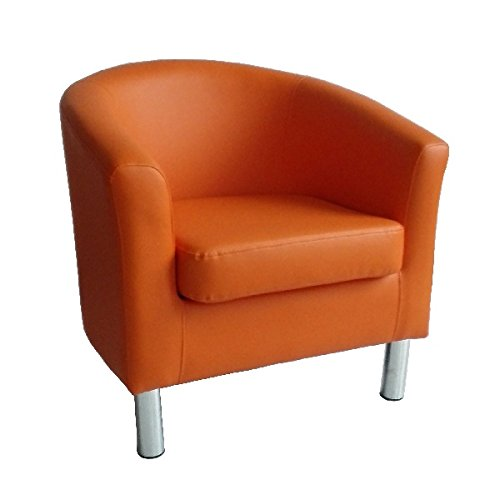 Marvelous Designer Leather Tub Chair Armchair For Dining Living Room Office Reception  (Orange)