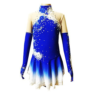 Heart&M Eiskunstlauf Kleid für Mädchen Rollschuhkleid Wettbewerb Kostüm Applique Strass Pailletten Eislauf Kleider Langärmelig Blau