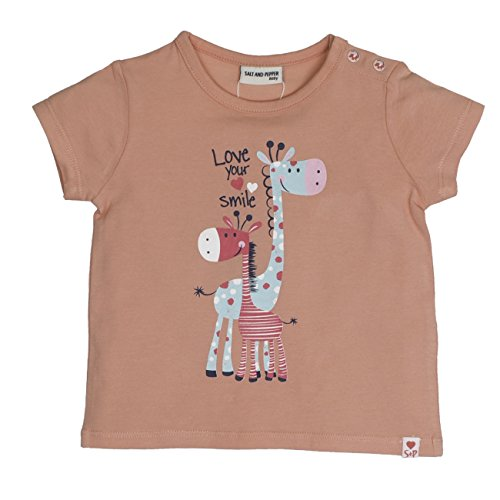 SALT AND PEPPER Baby-Mädchen B Love Uni Print T-Shirt, Orange (Apricot 310), 68