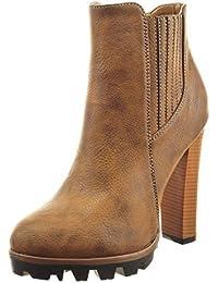 Sopily - Zapatillas de Moda Botines chelsea boots zapatillas de plataforma Tobillo mujer acabado costura pespunte Talón Tacón ancho alto 12 CM - Camel
