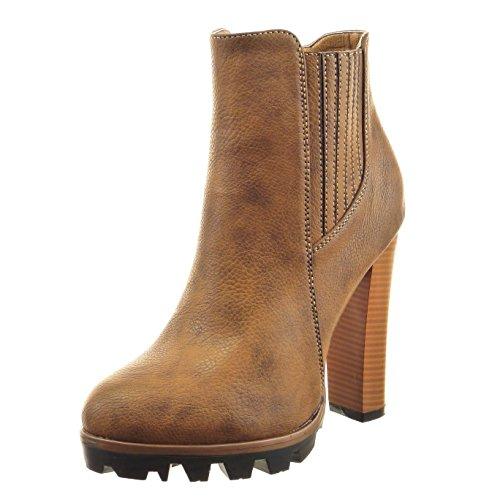 Fertige Mode (Sopily - damen Mode Schuhe Stiefeletten Chelsea Boots Plateauschuhe Fertig Steppnähte - Camel CAT-3-PN1518 T 41)