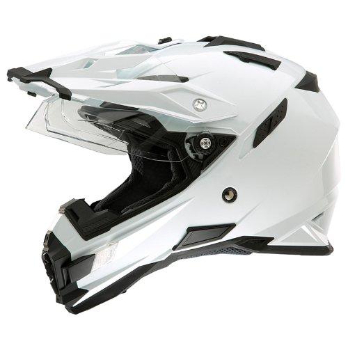 O'Neal Sierra Adventure Enduro Helm Weiß aerodynamisch Motorrad inkl. Sonnenblende, 0815-00, Größe Medium (57 - 58 cm)