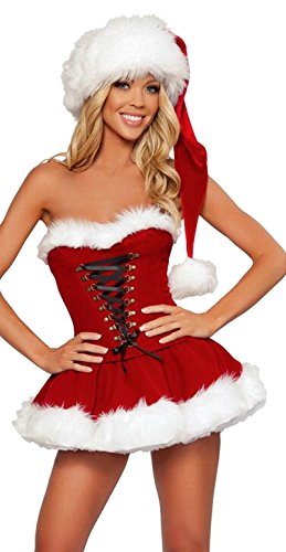 Costumi sexy donna natale tee dress abito di santa claus di miss xmas party fancy dress