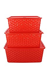 FAIRFOOD Polyproplene Multipurpose Basket with Cover- SET OF 3 pcs, 5 kg, Red
