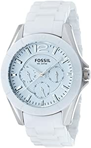 Fossil - CE1002 - Montre Femme - Quartz Analogique - Cadran Blanc - Bracelet Céramique Blanc