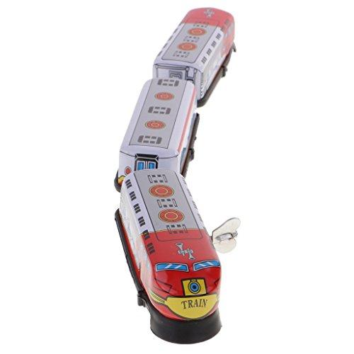 MagiDeal Wind-up Zug Modell Uhrwerk Kinder Spielzeug aus Zinn & Kunststoff Sammlerstück Geschenk - Zinn Spielzeug Wind-up