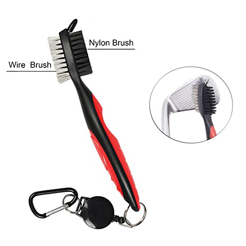 halomy Golf Club Brush and Club Groove Cleaner, Nylon & Steel Brush with 2 Ft Retractable Zip-line and Aluminum Carabiner, Lightweight, Ergonomic Design and Easily Attaches to Golf Club Bag (Red)
