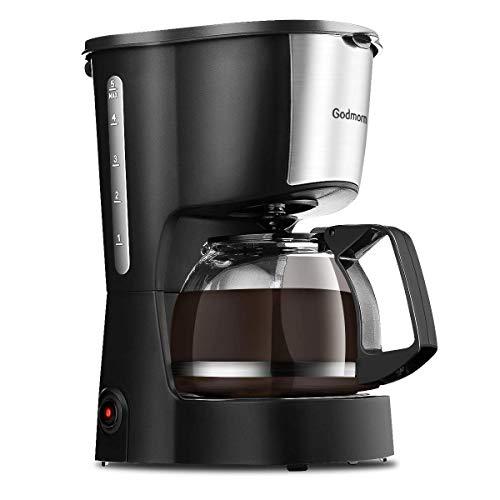 Godmorn Kaffeemaschine, Filterkaffeemaschine Automatische Endabschaltung, 4 Tassen, Anti-Tropf-Design, Warmhaltefunktion 40 Minuten, Abnehmbarer Filter, 0.6L & 600W Platzsparend
