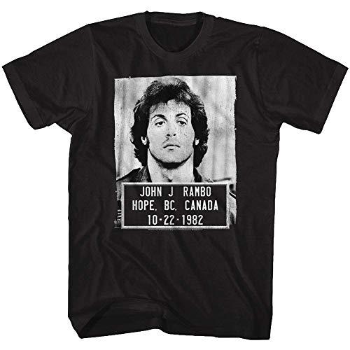 Rambo Film Series John J. Rambo Canada 1982 Mugshot Black Adult T-Shirt Tee -