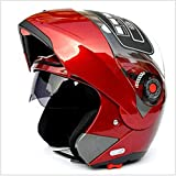 Casco de seguridad profesional para motocicleta, casco integral de motocicleta, casco de calle para bicicleta de carreras, casco de crash off road downhill con visera solar para adultos, rojo, Medium