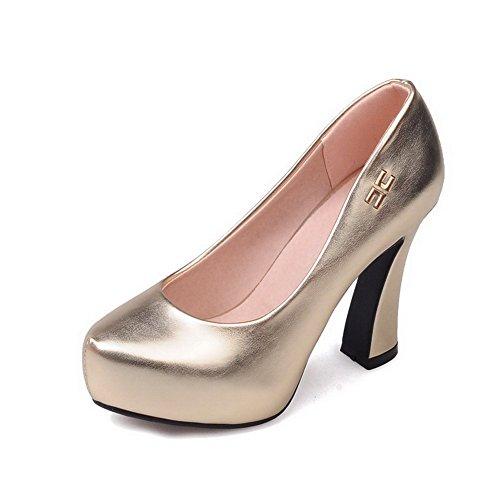 VogueZone009 Femme Rond à Talon Haut Matière Souple Couleur Unie Tire Chaussures Légeres Doré