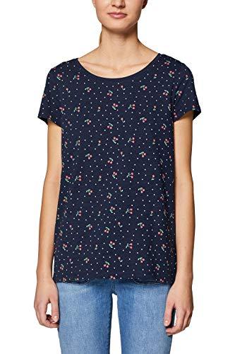 edc by ESPRIT Damen 039CC1K048 T-Shirt, Blau (Navy 400), X-Large (Herstellergröße: XL)