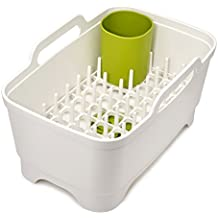 Joseph Joseph 85101 Wash & Drain Plus Dishpan and Dish Rack Utensil Holder Set, White