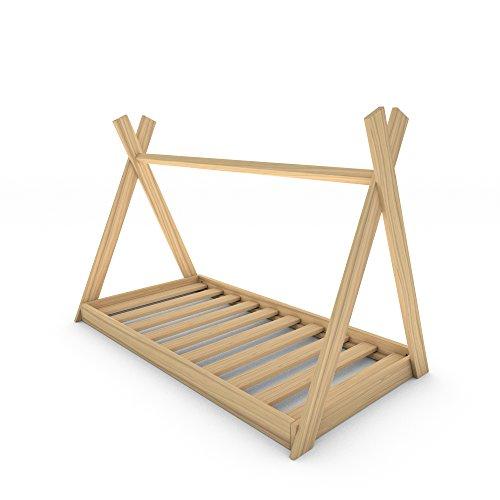 MSS Tipi Kinder-Bett 200 x 90 cm Kiefer (Lackiert) Kinderhaus Holz Haus Spiel Zelt inkl. Lattenrost