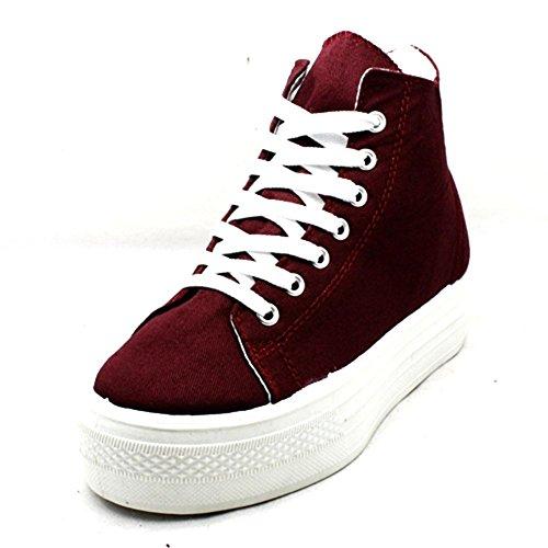 sendit4me Flatform lacets pompes haute-haute/chaussures Burgundy
