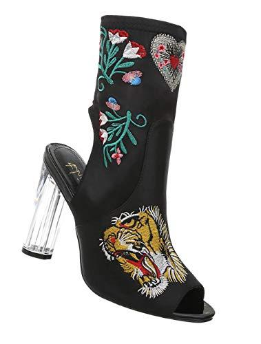 Damen Tiger Pumps | Damenschuhe High Heels | Stiletto Sandalette | Peep Toes Kristall Absatz | Party Club Stiefelette | Stickereien | Schwarz 36