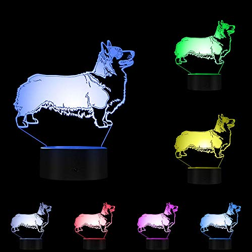 PTSHOP Cardigan Welsh Corgi Dog 3D Optische Täuschung LightAnimal Dog Glowing 7 Farben LED-Licht Home Decor Tischleuchte für Jungen,Mädchen,Babys und Kleinkinder