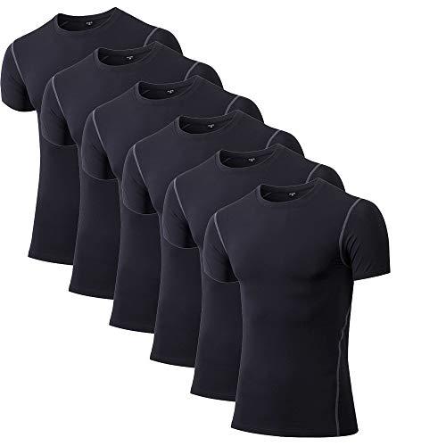 Plain Crew Neck Tee (Mens Plain T-Shirts Short Sleeve Crew Neck Sport Tees Milk Silk Workwear Undershirts Gym Running Workout 1-6 Pack)