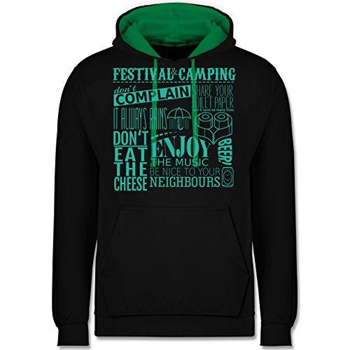 Festival - Festival camping lettering - Kontrast Hoodie Schwarz/Grün