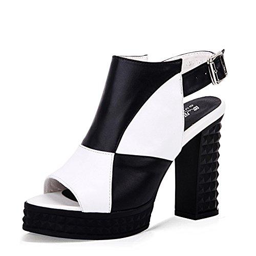 Leder absatz sandalen/Europa und die vereinigten staaten mit groben kampfsandalen/Wasserdichte fische mund high heels A