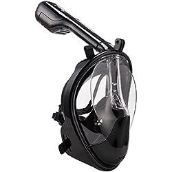 KepooMan 180° panorámicas cara llena Snorkel Máscara EASYBREATH con antivaho y linternas diseño, Clear Lens, L-XL