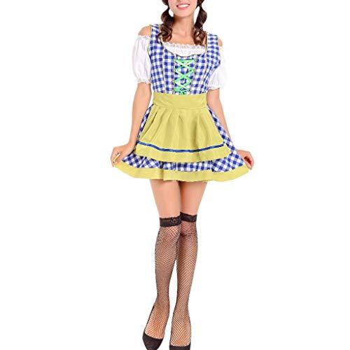 carol -1 3tlg Dirndl-Set Lang - Trachtenkleid Bluse Schürze Karnevalszeit Halloween Kostümparty Performance Oktoberfest Dirndlkleid Maid Kleid Oktoberfest KostüM Bayerisch Bier MäDchen Dirndl Taverne