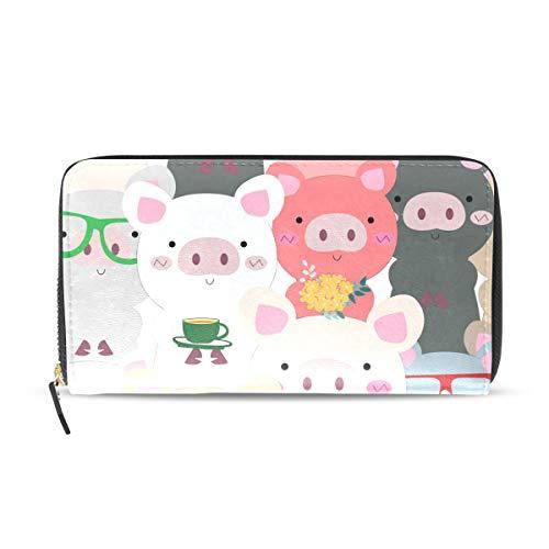 Portemonnaie mit Schweinchen-Muster, für Frauen, Kartenfächer, modisch, mit Reißverschluss, Lange Geldbörse