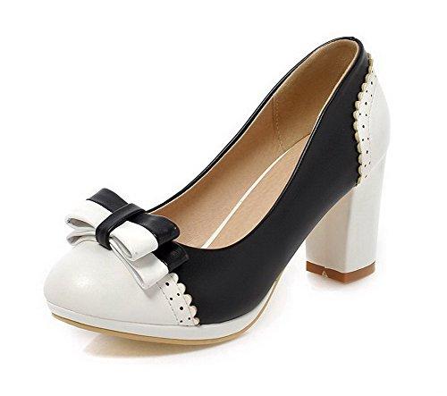 AgooLar Damen Ziehen Auf Pu Leder Rund Zehe Hoher Absatz Gemischte Farbe Pumps Schuhe Schwarz