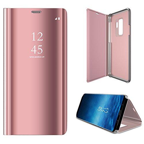 Galaxy S9 Handyhülle,Galaxy S9 Spiegel Schutzhülle Flip Handy Case,WIWJ Mirror Clear View Flip Casee Hülle[Spiegel Ledertasche] Bookstyle Tasche Hülle für Samsung Galaxy S9-Roségold