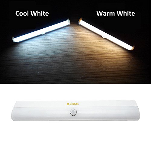 Bonlux LED Motion Sensor Night Light Warm White 10 LEDs Battery Operated Adhesive LED Strip Bar Light for Under Cabinet Corridor Wardrobe Drawer Bathroom Hallway Stair LED Lighting
