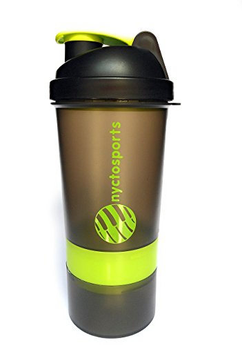 Nyctosports BPA Free Gym Protein Shaker Sipper Bottle With Two Storage Compartments, 500 Ml (Black/Neon Green)