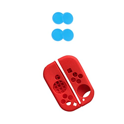 Segolike Silicone Case Cover+Joystick Thumbstick Pads Grip Cap for Nintendo Switch