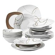 Elegante sala da pranzo: copri il tuo tavolo con Nikita Il set da 24 pezzi è composto da 6 ciotole di cereali, piatti per la colazione, piatti piatti e ciotole · Colore: in colore di fondo bianco con una bella decorazione · Materiale: porcell...