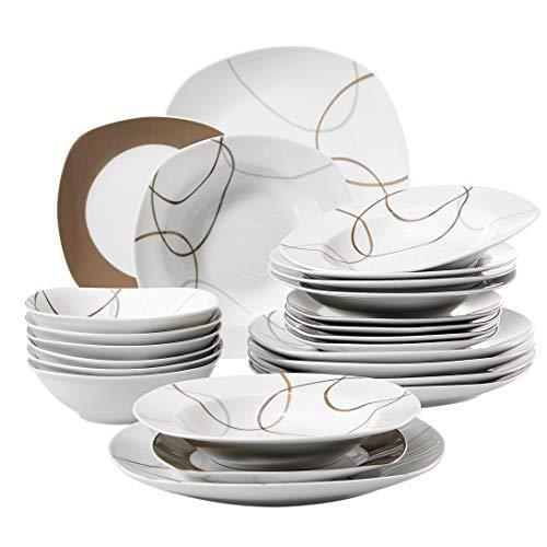 Veweet nikita servizio piatti 6 persone piatti quadrati bianchi porcellana 24 pezzi con 6 ciotole per cereali, 6 piatti piani, 6 piatti fondi e 6 piatti da dessert