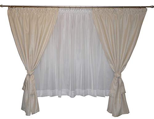 Fkl bella tenda confezionata finestra tenda tende in voile con pieghe nastro arricciato store corto moderno bianco 180–220cm ag43 gold